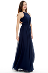 A-Line Scoop Neck Floor Length Pleated Chiffon Prom Dress With Backless Design