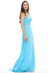 A-Line Halter Scoop Neck Sheer Sweetheart Prom Dress With Beading