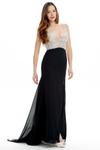 Trumpet/Mermaid V-neck Sweep Train Floor Length Prom Dress With Top Beading