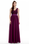 A-line V-neck Floor Length Chiffon Prom Dresses With Sheer Lace Top