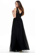 A-line Scoop Neck Floor Length Chiffon Ruffle Prom Dress With Lace