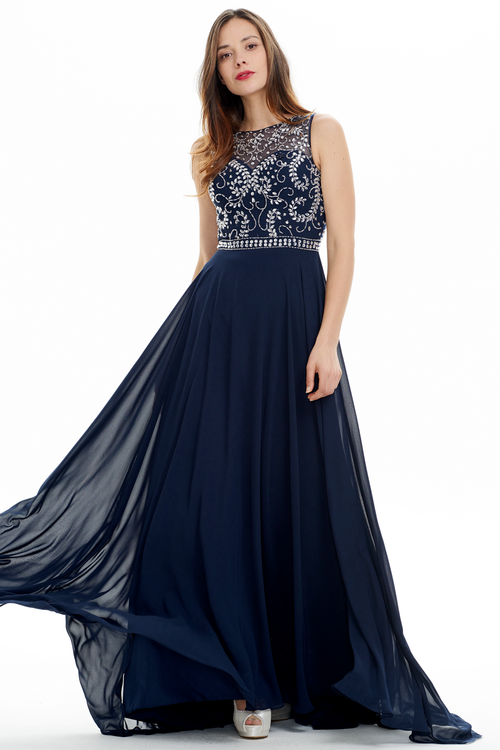 A-line Scoop Neck Floor Length Chiffon Court Sweep Prom Dress With Beading