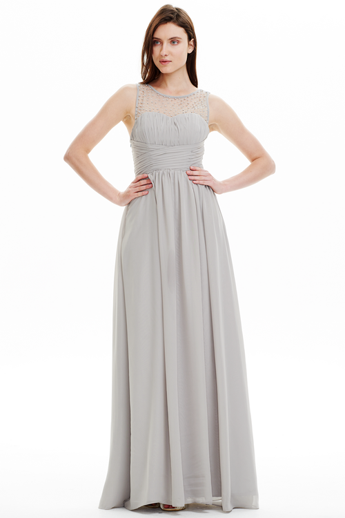 A-line Scoop Neck Sweetheart Floor Length Chiffon Prom Dresses With Beading