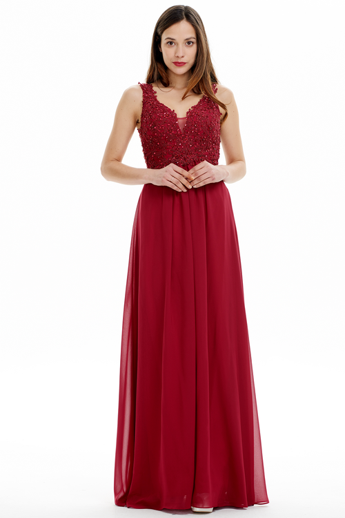 A-line V-neck Floor Length Chiffon Prom Dress With Lace Flower Beading
