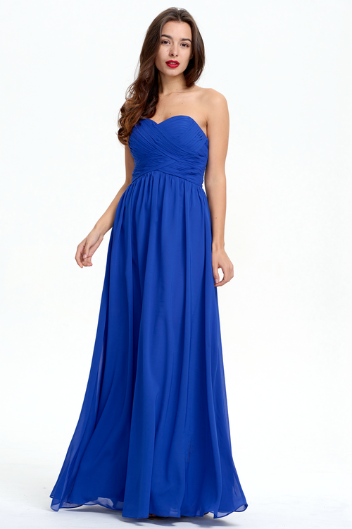 A-Line Strapless Sweetheart Floor-Length Chiffon Bridesmaid Dress With Ruffle
