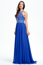 A-Line Scoop Neckline Floor Length Chiffon Prom Dress With Beading Top