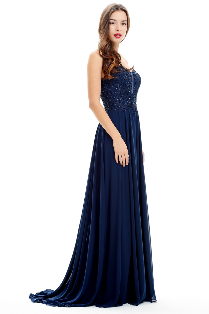 A-Line Strapless Sweetheart Floor-Length Chiffon Bridesmaid Dress With Beading