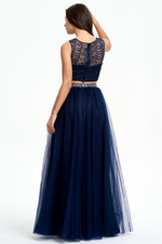 Two Pieces Scoop Neckline Sweetheart Floor Length Tulle Prom Dress With Beading