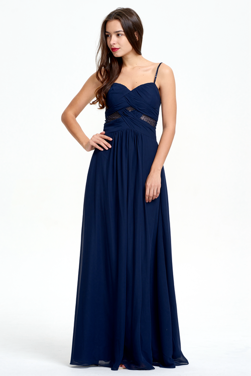 A-Line Beading Straps Floor-Length Chiffon Bridesmaid Dress With Ruffle