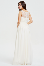 A-line Scoop Neckline Sweetheart Floor Length Chiffon Prom Dress With Beading Flowers