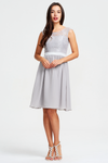 A-Line Scoop Neck Mini/Short Lace Top Chiffon Bridesmaid Dress