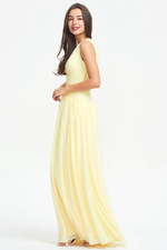 A-line V-neck Ruffle Knited Design Floor Length Chiffon Bridesmaid Dress