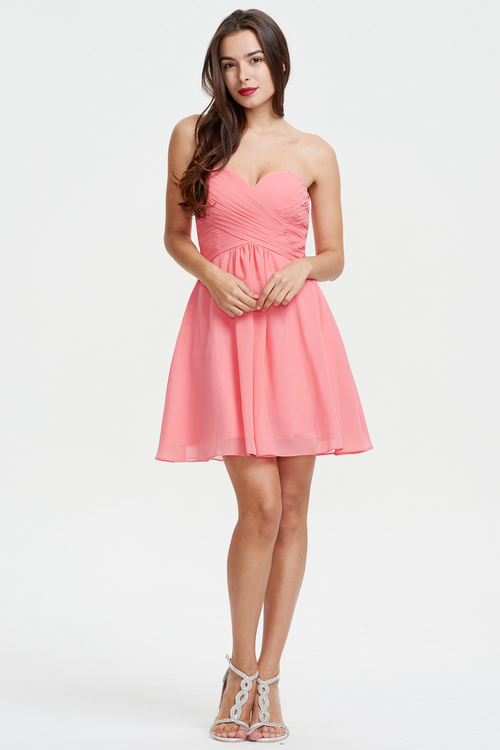 A-Line Strapless Sweetheart Mini/Short Chiffon Homecoming Dress With Ruffle