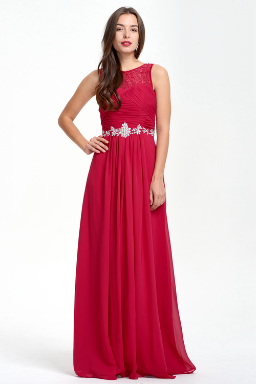 A-Line Scoop Neckline Sweetheart Ruffle Top Chiffon Bridesmaid Dress With Beading Belt