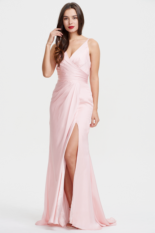 Trumpet/Mermaid Deep V-neck Satin Backless Evening Dress With Ruffle