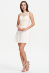 A-line Scoop Neck Sweetheart Mini/Short Chiffon Homecoming Dress With Beading