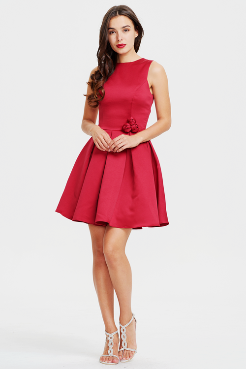 A-line Burgundy Scoop Neck Mini/Short Satin Homecoming Dress With Rose