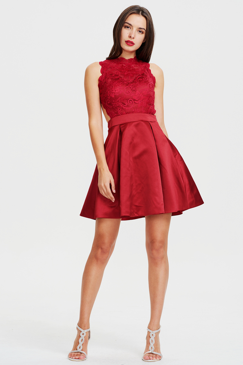 A-line Burgundy Scoop Neck Mini/Short Satin Backless Homecoming Dress With Lace