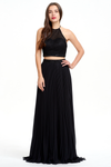 Two Pieces A-line Halter Pleated Backless Chiffon Prom Dress With Beading