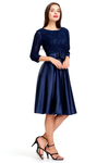 A-line 3/4 Sheer Sleeves Knee Length Satin Homecoming Dress With Bow