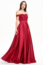 A-line Off Shoulder A-line Sweetheart Prom Dress With Beading