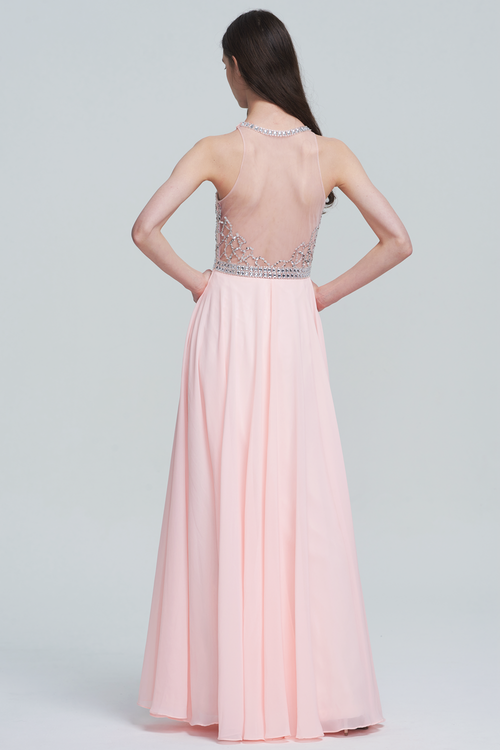 A-Line Halter Neck Floor-Length Chiffon Sweetheart Sheer Bridesmaid Dress With Beading