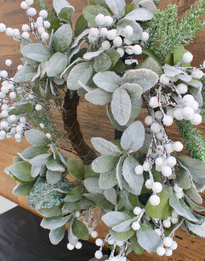Wreath- Snowy Evergreen and Eucalyptus, white berries