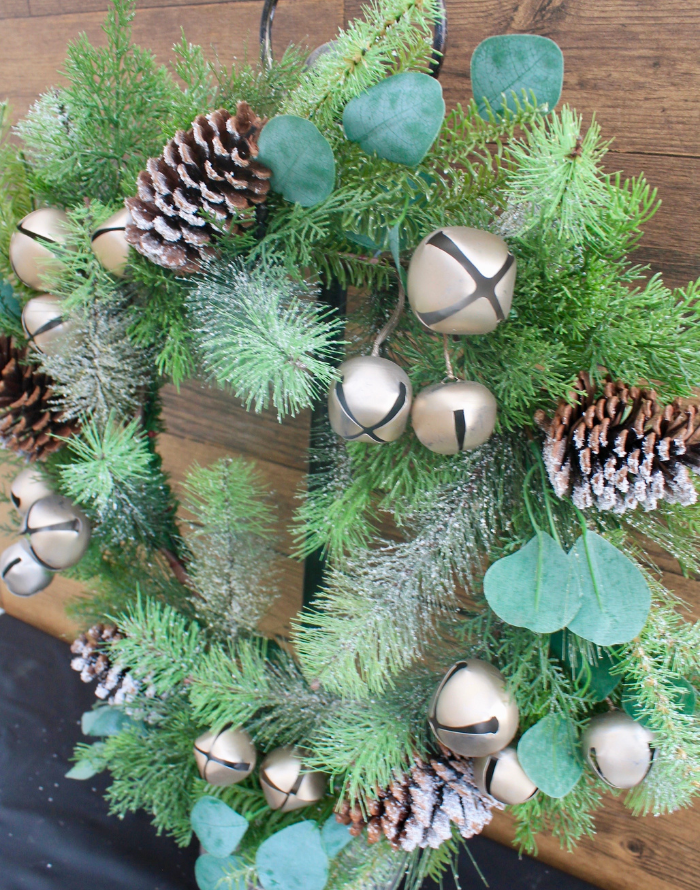 Wreath- Gold bells and Frosted pinecones