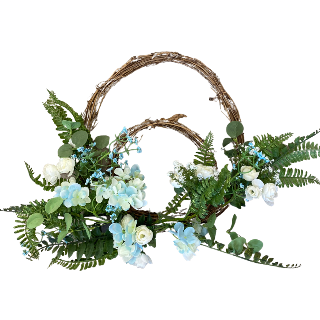 Grapevine Wreath with Fern Leaf & Hydrangea