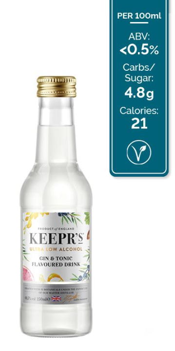 Keepr's Gin & Tonic Flavoured Drink - Ultra Low Alcohol