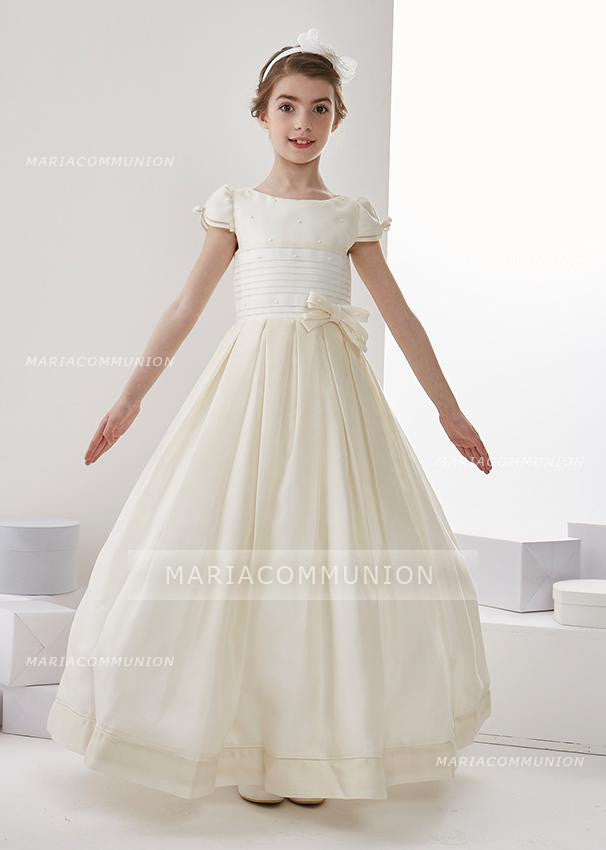 Short Sleeve Jewel Neck A-Line Organza Floor Length First Communion Dress With Bows
