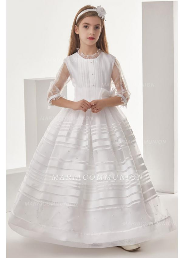 Organza Ball Gown 3/4 Long Sleeves Floor Length Communion Dress With Bow(S)