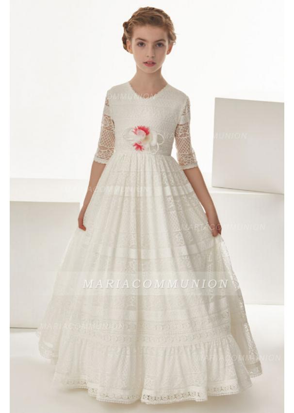 Short Sleeve Sptize Floor Length Communion Dress