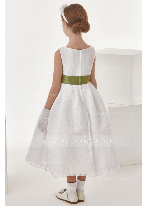 Ball Gown Bow(S) Sleeveless Wadenlanges Communion Dress