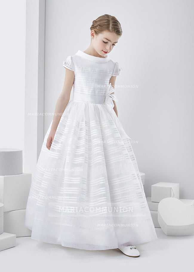 Cowl Neck Short Sleeve Long A-Line Organza First Communion Dress With Flower