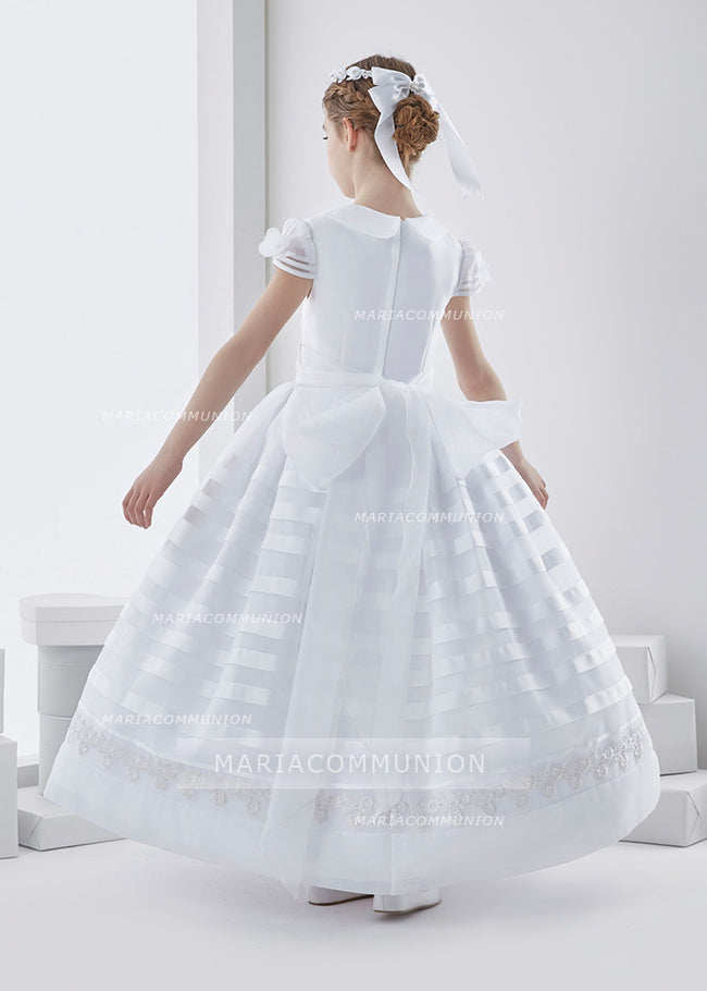 Cowl Neckline Short Sleeve Ball Gown Organza First Communion Dress With Bow Back