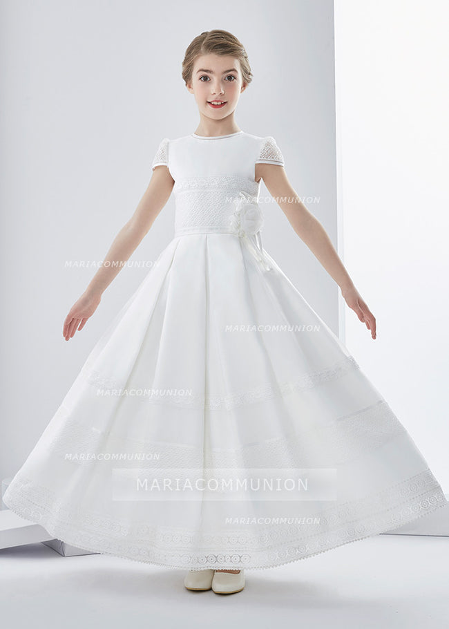 Elegant A-Line Jewel Short Sleeve Lace Hand Made Flowers Floor-Length Satin First Communion Dresses