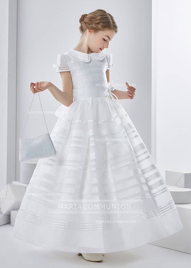 Jewel Neck Short Sleeve A-Line Organza First Communion Dress With Bows