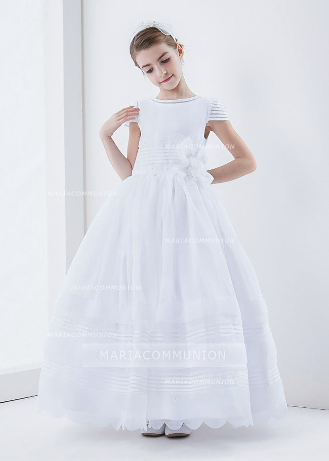 Organza Short Sleeve Ball Gown Floral Hemline Long First Communion Dress With Beading