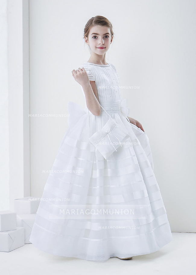 Short Sleeve Ball Gown Organza First Communion Dress With Beaded Bodice