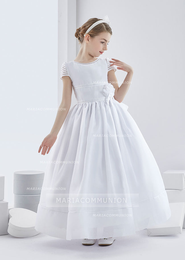 Short Sleeve Ball Gown Organza First Communion Dress with Big Bow