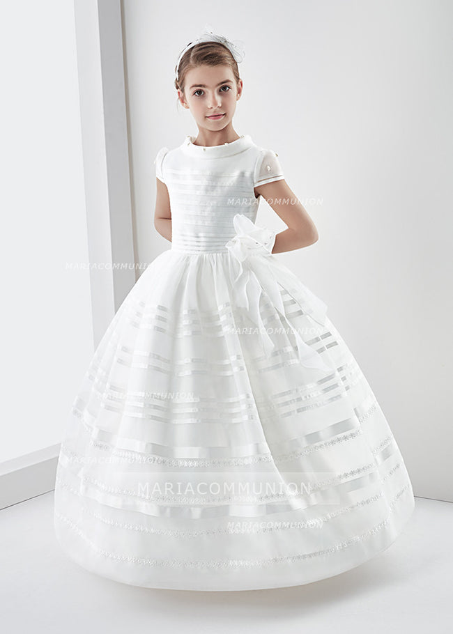 Short Sleeve Ball Gown Organza Long First Communion Dress With Beading