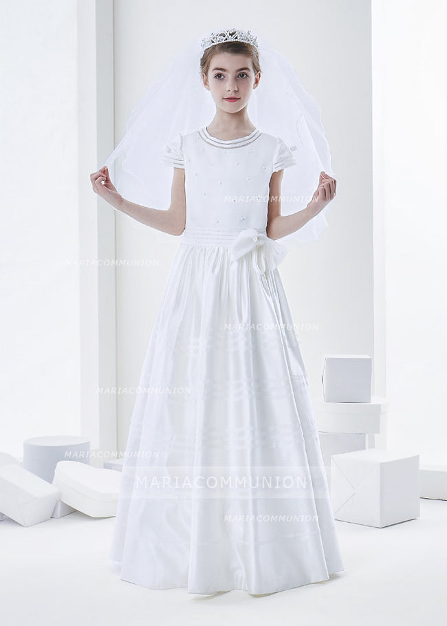 Short Sleeve Beaded Bodice A-Line Satin First Communion Dress With Bow
