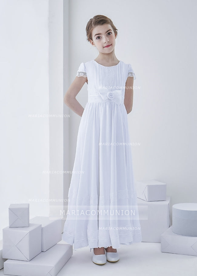 Short Sleeve Jewel Neck Lace Pattern Long Chiffon First Communion Dress With Bow