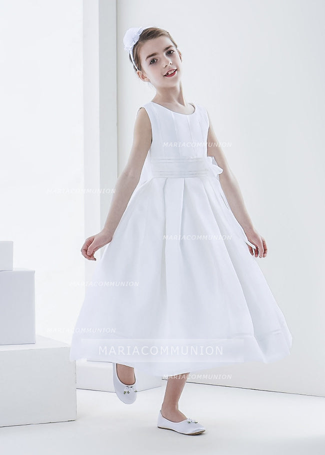 Simple Ball Gown Bateau Sleeveless Bow(S) Tea-Length Organza First Communion Dresses