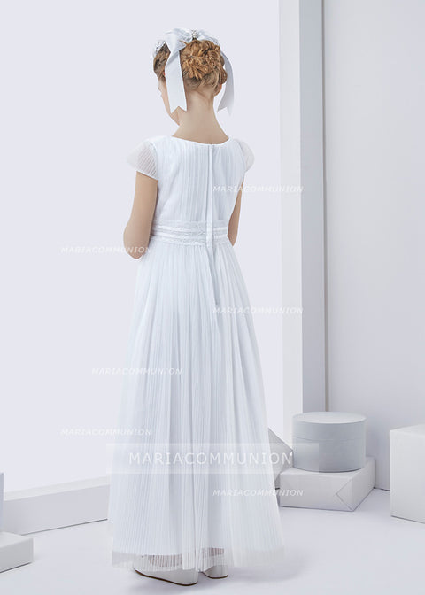 Simple Short Sleeve Pleated Long Tulle First Communion Dress