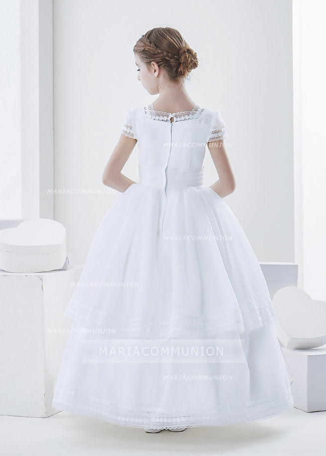 Square Neck Two Tiered Organza First Communion Dress With Flower At Waist