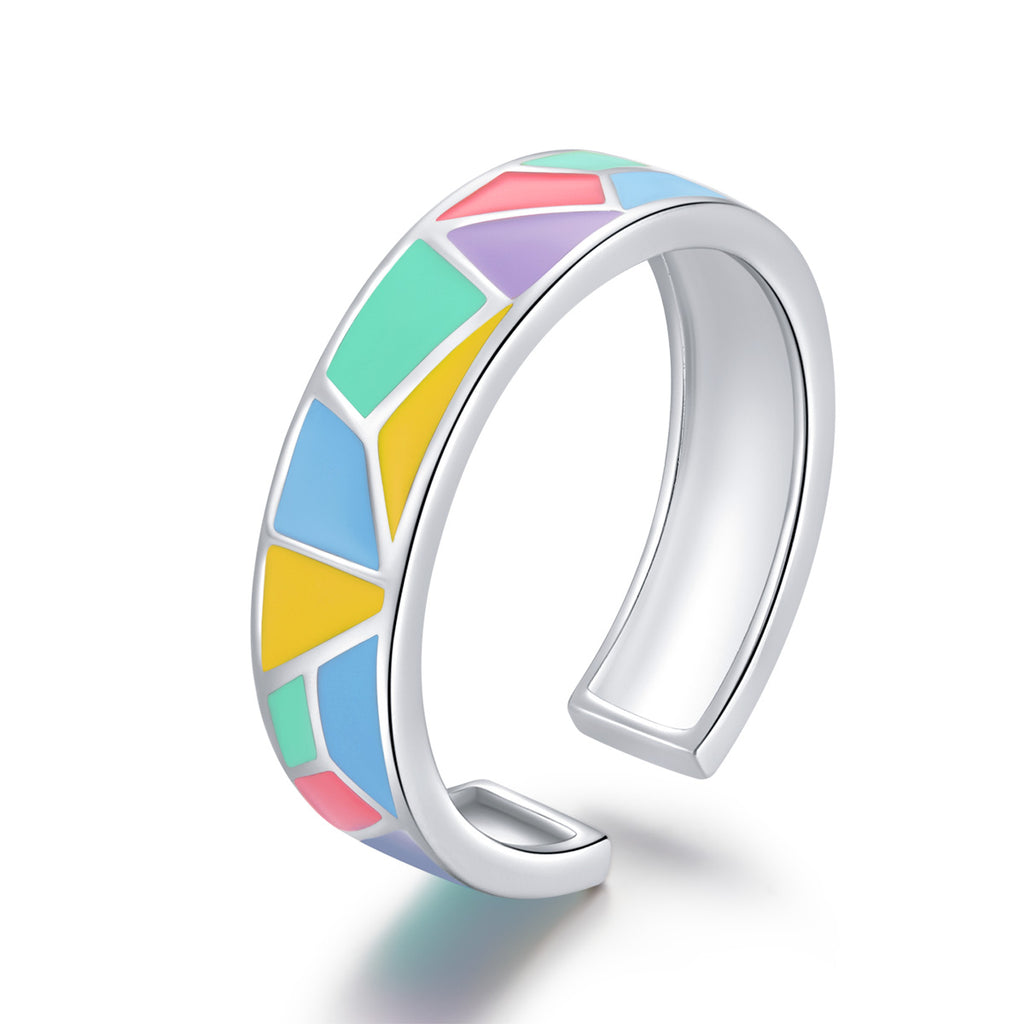 Colorful Geometric Enamel Open Ring