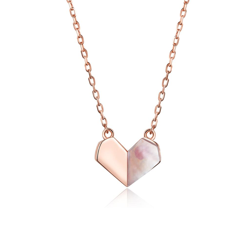 Folding Heart Shell Necklace