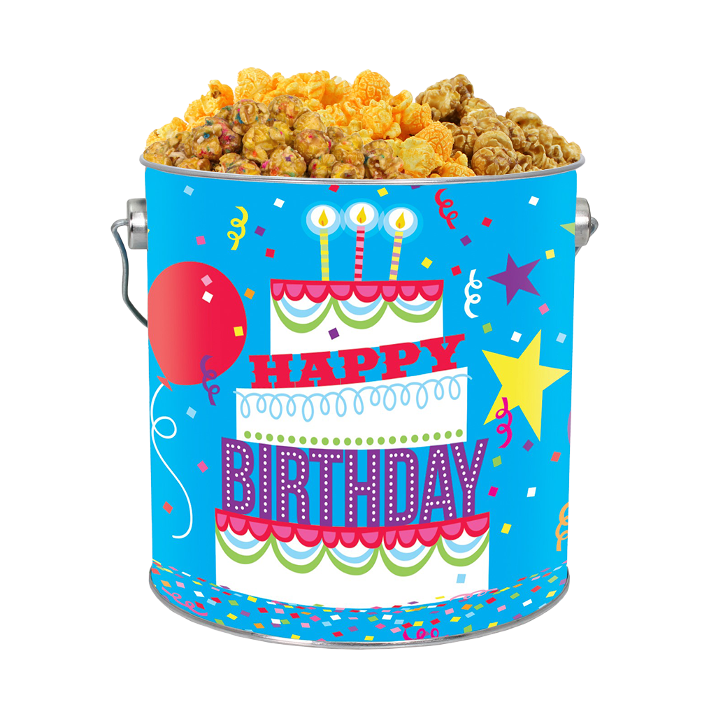 Happy Birthday 1-Gallon Popcorn Tin